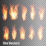 Uppsättning av genomskinliga flammavektorer Arkivbilder