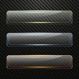 Uppsättning av genomskinliga horisontalglass baner med kulör ljus effekt på kolbakgrund Royaltyfri Fotografi