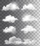 Uppsättning av genomskinliga olika moln. stock illustrationer