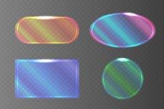 Uppsättning av genomskinliga pearlescent baner av olika former royaltyfri illustrationer