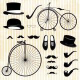 Uppsättning av gentlemannen och cykeln Arkivfoto