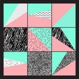 Uppsättning av geometrisk abstrakt färgrik modern bakgrund Arkivbild