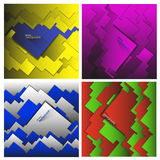 Uppsättning av geometriska abstrakta bakgrunder för vektor som göras av fyrkanter och rektanglar Fotografering för Bildbyråer