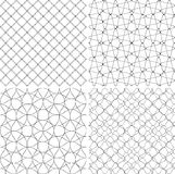 Uppsättning av geometriska bakgrunder drog linjer Textur för tryck som är svartvit Arkivbilder