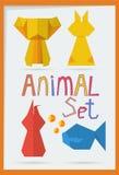 Uppsättning av geometriska djur Royaltyfri Fotografi