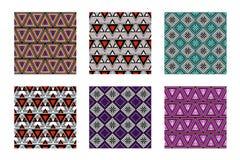 Uppsättning av geometriska färgrika modeller för sömlös vektor med dekorativa beståndsdelar Arkivfoto