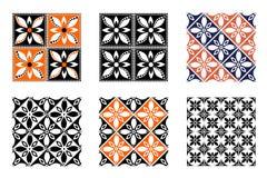Uppsättning av geometriska färgrika modeller för sömlös vektor med dekorativa beståndsdelar Royaltyfri Bild