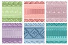 Uppsättning av geometriska färgrika modeller för sömlös vektor med dekorativa beståndsdelar Royaltyfria Bilder