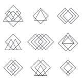 Uppsättning av geometriska formtrianglar, linjer för din design moderiktigt Arkivfoton