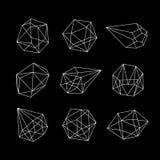 Uppsättning av geometriska kristaller Royaltyfri Foto