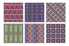 Uppsättning av geometriska modeller för sömlös vektor med dekorativa beståndsdelar Royaltyfria Bilder