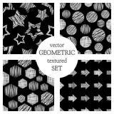 Uppsättning av geometriska modeller för sömlös vektor med rektanglar, cirkel, pilar, stjärnor Svartvit pastellfärgad ändlös bakgr Royaltyfri Bild