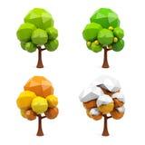 Uppsättning av geometriska träd som 3d isoleras på vit bakgrund framförande 3d stock illustrationer