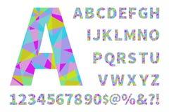 Uppsättning av geometriska vektoralfabet och nummer Materiell geometri Polygonal geometri Fotografering för Bildbyråer