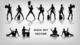 Uppsättning av gitarrflickakonturer royaltyfri illustrationer