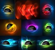 Uppsättning av glödande bakgrunder för ljusa effekter för neon digitala vektor illustrationer