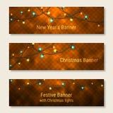 Uppsättning av glödande baner för nytt år och för jul Royaltyfri Fotografi