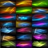 Uppsättning av glödande neontechnoformer, abstrakt bakgrundssamling Futuristiska magiska utrymmetapeter för vektor Royaltyfri Bild