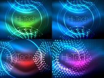 Uppsättning av glödande neontechnoformer, abstrakt bakgrundssamling Futuristiska magiska utrymmetapeter för vektor Fotografering för Bildbyråer