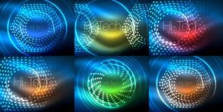 Uppsättning av glödande neontechnoformer, abstrakt bakgrundssamling Futuristiska magiska utrymmetapeter för vektor Arkivbilder