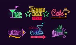 Uppsättning av glödande neontecken för öl- och coctailstång, kafé, dansklubba och hotell Vektorbeståndsdelar för advertizingrekla royaltyfri illustrationer