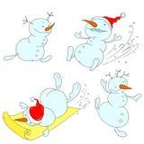Uppsättning av gladlynta snögubbear Tecken sänker snögubbear Arkivfoton