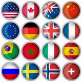 Uppsättning av glansiga knappar eller symboler med populära länder för flaggor Fotografering för Bildbyråer