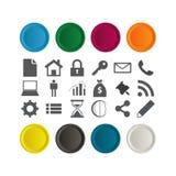 Uppsättning av glansiga knappar med få affärssymboler. Arkivbild