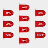 Uppsättning av glansiga röda försäljningsetiketter Royaltyfri Fotografi