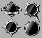 Uppsättning av glansiga sköldar för stål och kompassrosor Royaltyfri Bild