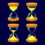Uppsättning av glansigt timglas för tecknad film royaltyfri illustrationer