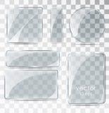 Uppsättning av glass plattor Plant exponeringsglas med ilsken blick stock illustrationer