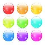 Uppsättning av glass skugga för buttonwith 3d Glansiga symboler för rengöringsduk Royaltyfria Bilder