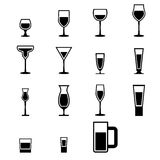 Uppsättning av glass symboler för kontur med vatten Royaltyfri Fotografi