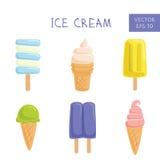 Uppsättning av glassar och isglassar också vektor för coreldrawillustration Fotografering för Bildbyråer