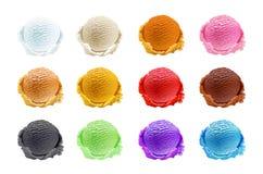 Uppsättning av glassskopor av olika färger och anstrykningar som isoleras i vita koppar på den vita bakgrundsvektorn Royaltyfri Bild