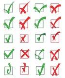 Uppsättning av godkända och kasserade kontrollfläckar Arkivbild