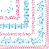 Uppsättning av gränser med hjärtor och fjärilar blått och rosa färger Royaltyfria Bilder