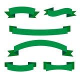 Uppsättning av gröna bandbaner Samling av ecosnirkelbeståndsdelar vektor illustrationer
