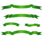 Uppsättning av gröna bandbaner Snirkelbeståndsdelar också vektor för coreldrawillustration Arkivfoto