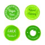 Uppsättning av gröna emblem för organiskt lantbruk Arkivfoton
