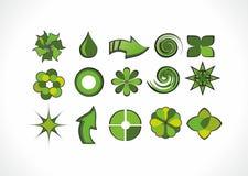Uppsättning av gröna logobeståndsdelar Royaltyfria Bilder
