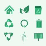 Uppsättning av gröna miljö- symboler Royaltyfria Foton