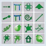 Uppsättning av gröna pilar också vektor för coreldrawillustration Upp och Fotografering för Bildbyråer