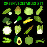 Uppsättning av grönsaker i plan stil Royaltyfria Bilder