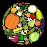 Uppsättning av grönsaker i plan stil Royaltyfria Foton