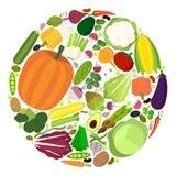 Uppsättning av grönsaker i plan stil Arkivfoto