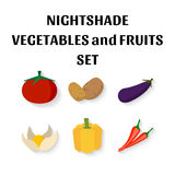 Uppsättning av grönsaker i plan stil Royaltyfri Fotografi