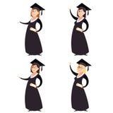 Uppsättning av graduted kvinnor Arkivfoton
