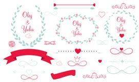 Uppsättning av grafiska beståndsdelar för bröllop med pilar, Royaltyfri Foto